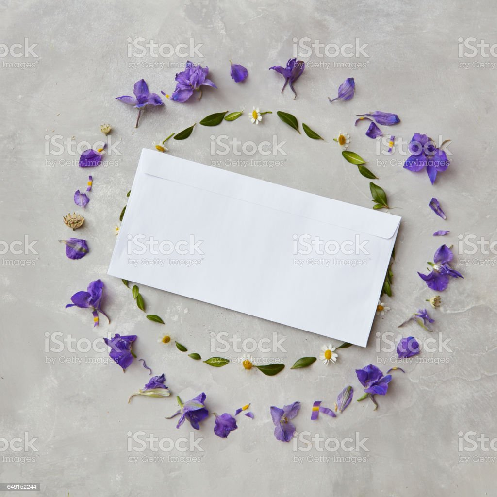 Composition of flowers on grey background stock photo