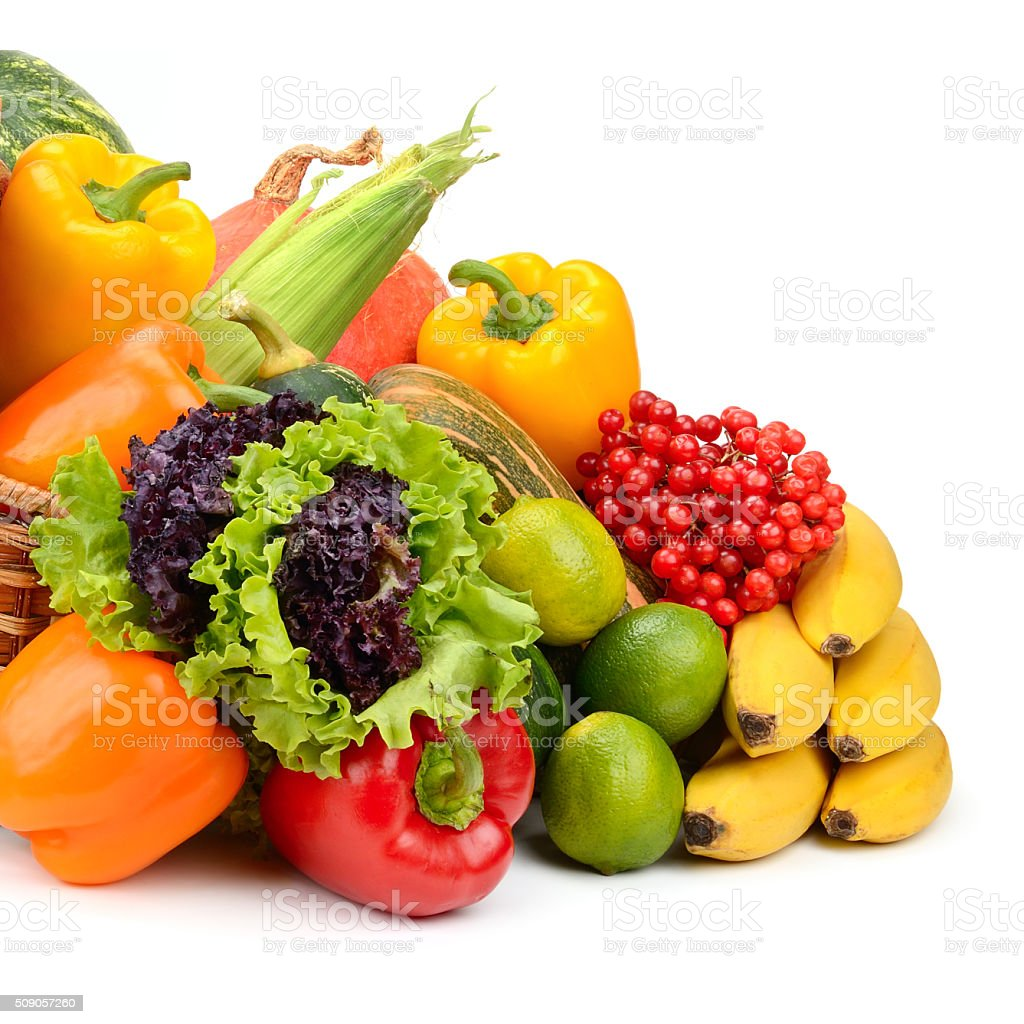 composition of fruits and vegetables in basket stock photo