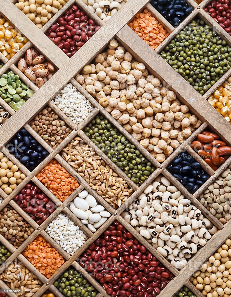 composition of grain, seeds and  legumes royalty-free stock photo