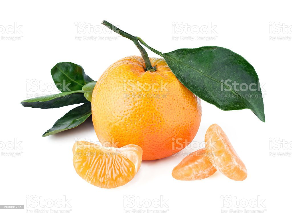 Composition of mandarins . Isolated photo on white with saved clipping stock photo