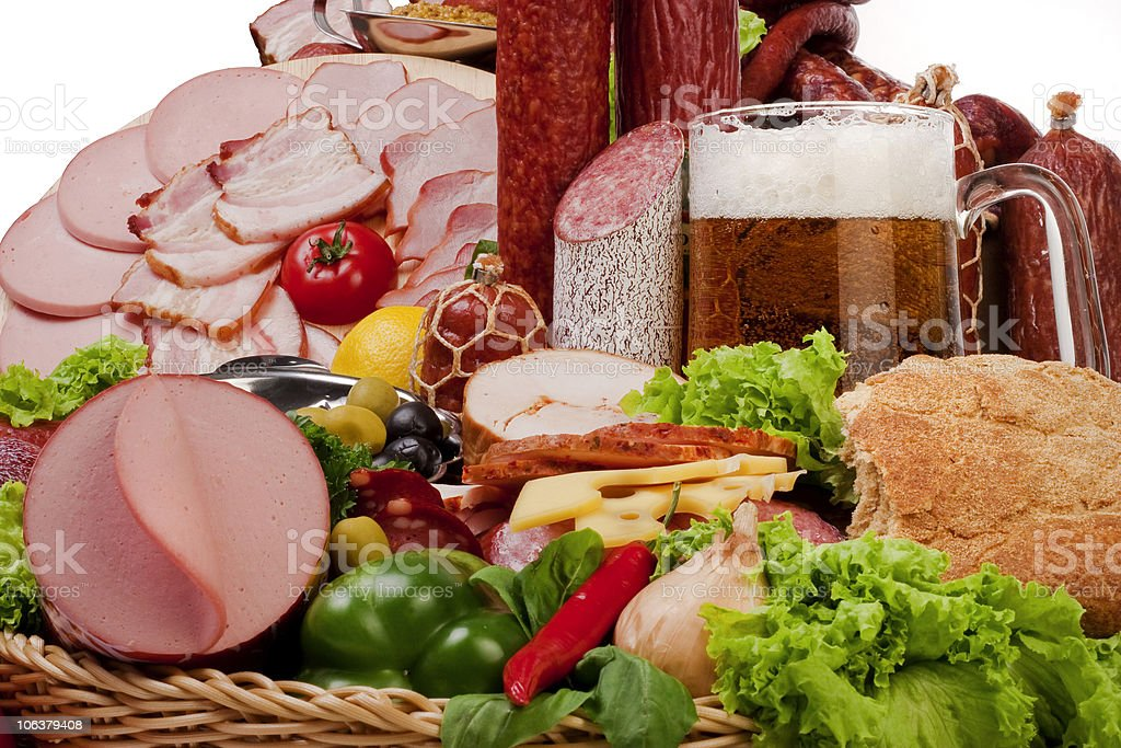 Composition of meat and vegetables with beer royalty-free stock photo