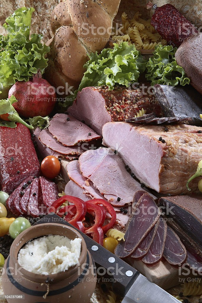 Composition of meat assortment royalty-free stock photo