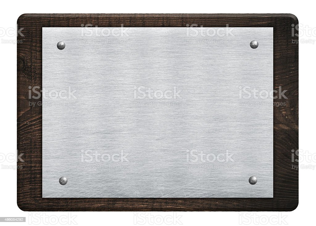 Composition of metal aluminum plaque, name plate wooden plank, board stock photo