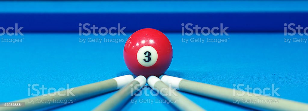 composition of pool balls number 3 stock photo