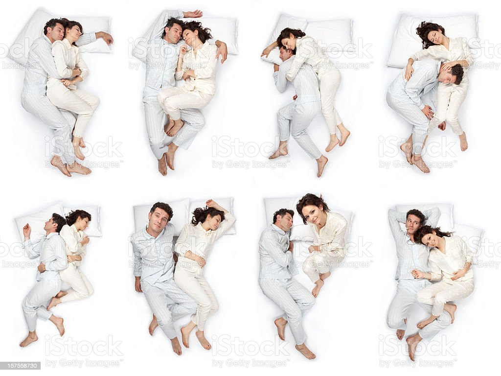 composition of sleep pose beautiful love couple  with pajamas isolated stock photo
