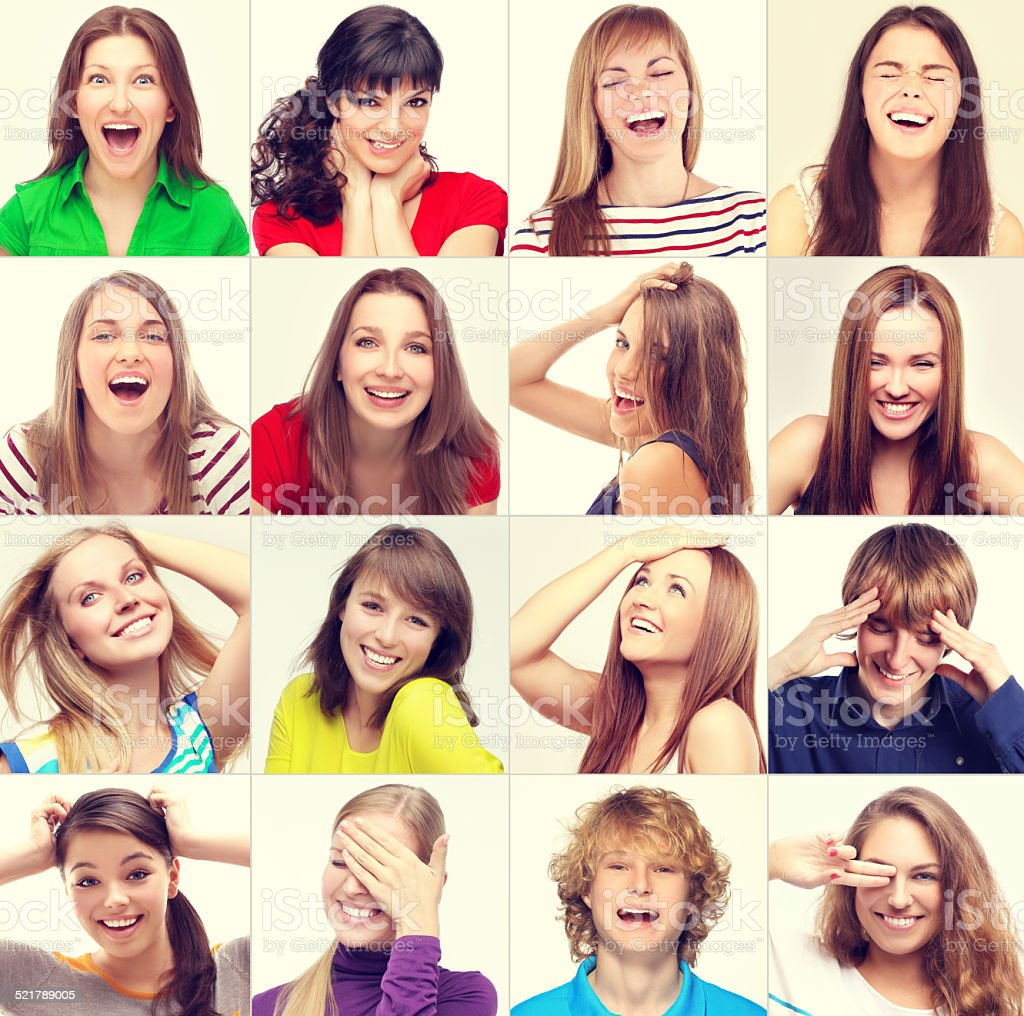 Composition of smiling people stock photo