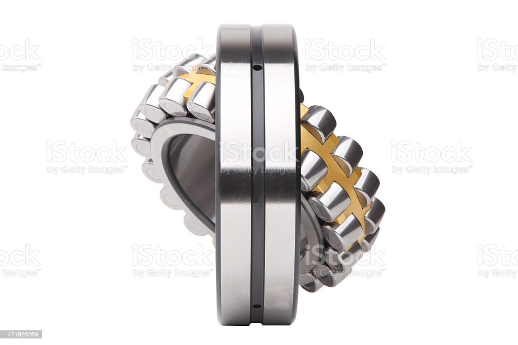 Composition of steel ball roller bearings, over white, clipping path stock photo
