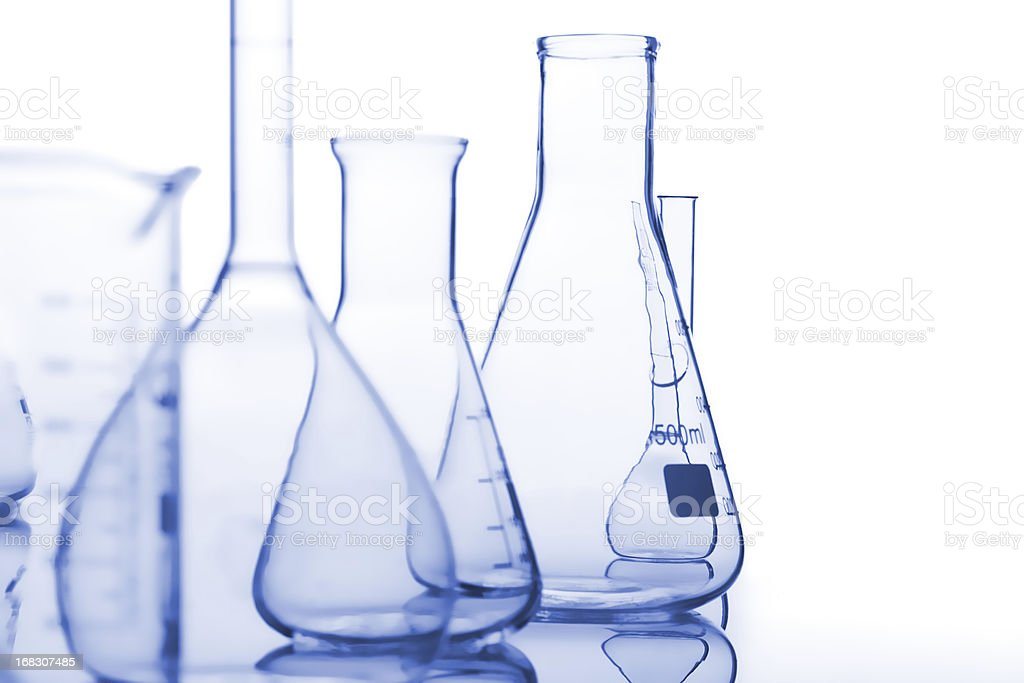 Composition of the medical flasks stock photo