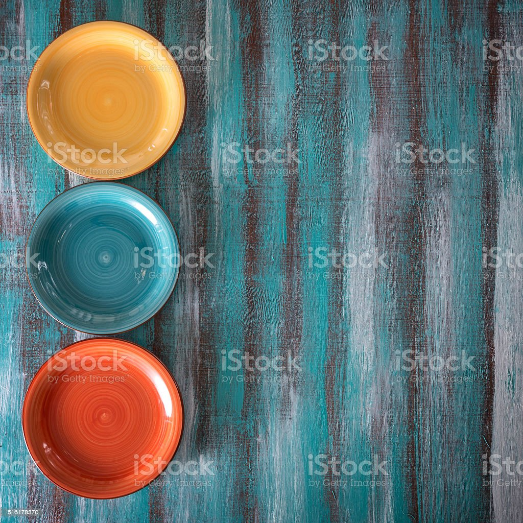 Composition of the three colored plates stock photo