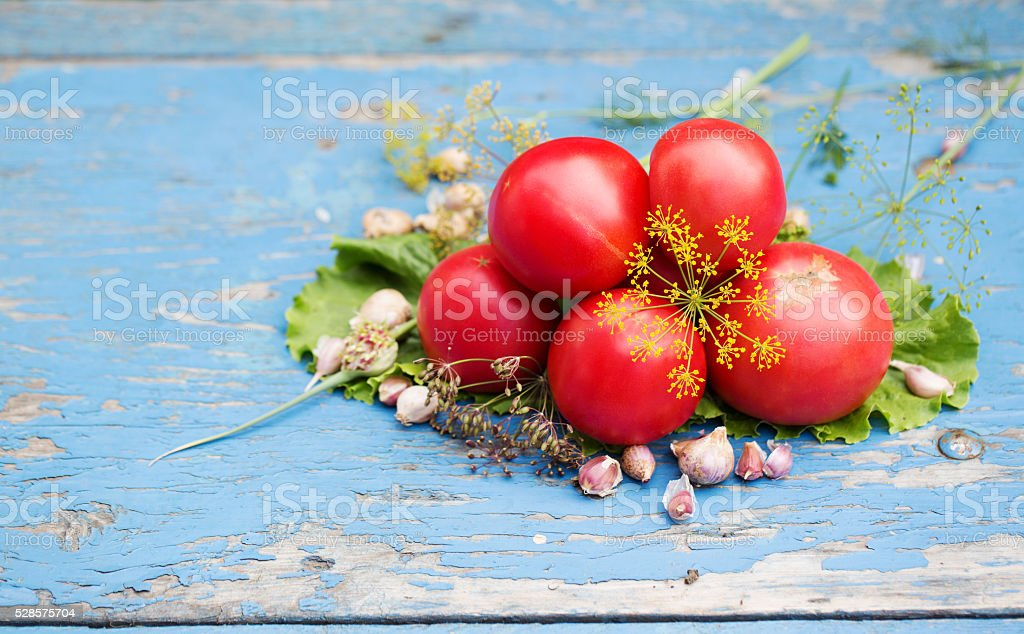 Composition of tomato and garlic. stock photo