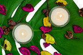 Composition of two burning candles, fragrant potpourri on monstera leaf