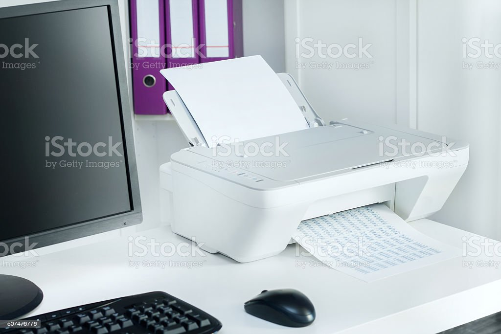 Composition of white printer and black computer in modern office stock photo