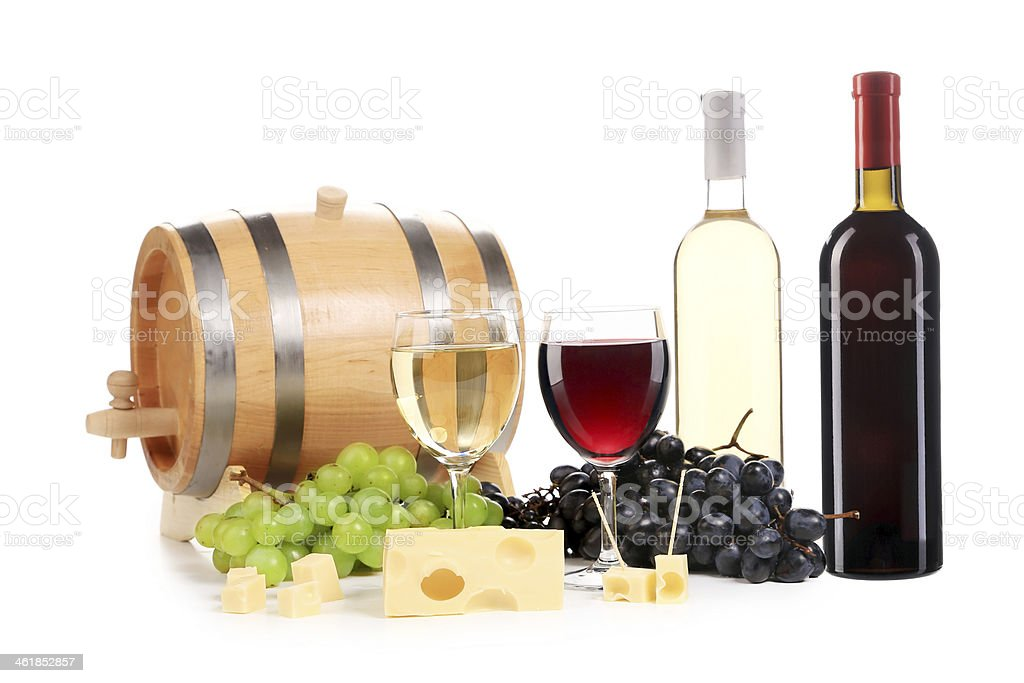 Composition of wine bottle and glass. stock photo