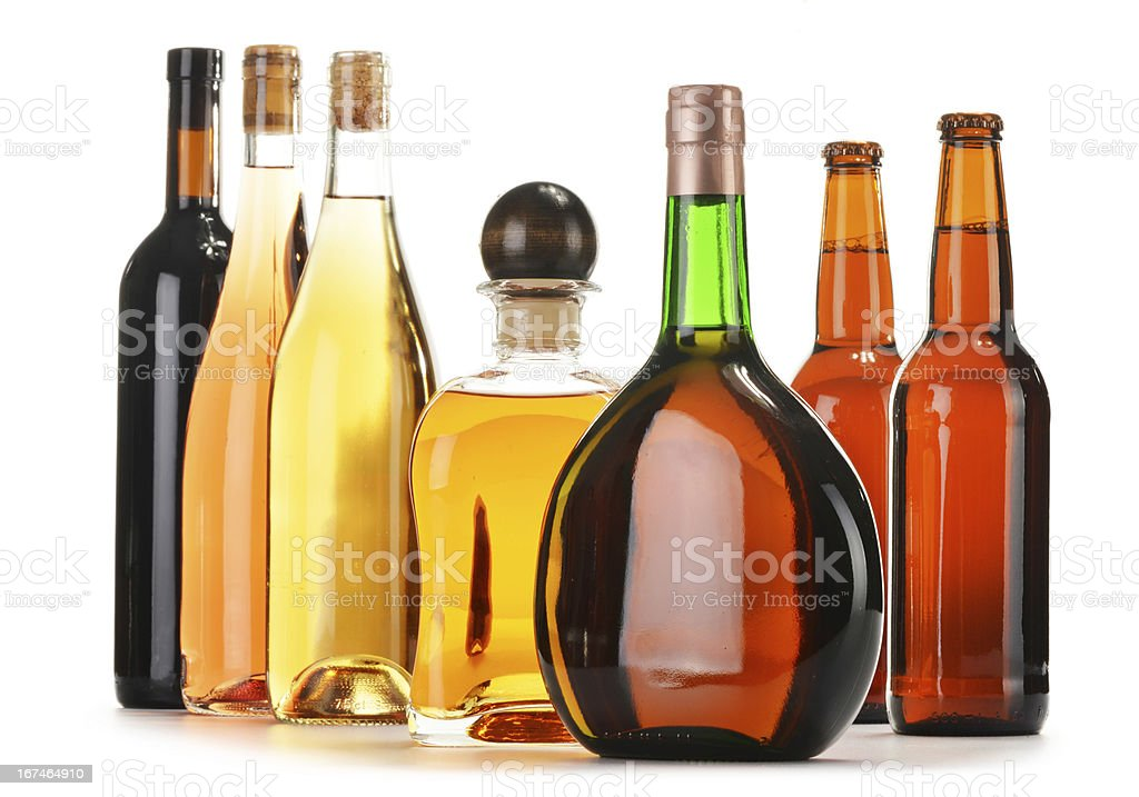 Composition with assorted alcoholic products royalty-free stock photo