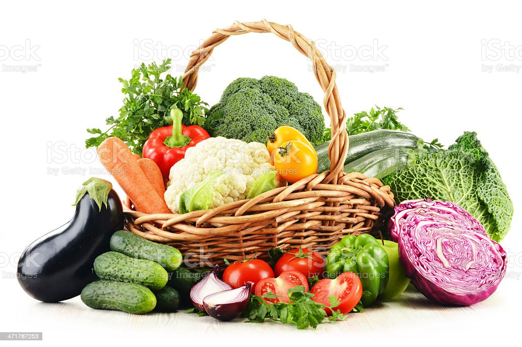 Composition with assorted vegetables isolated on white royalty-free stock photo