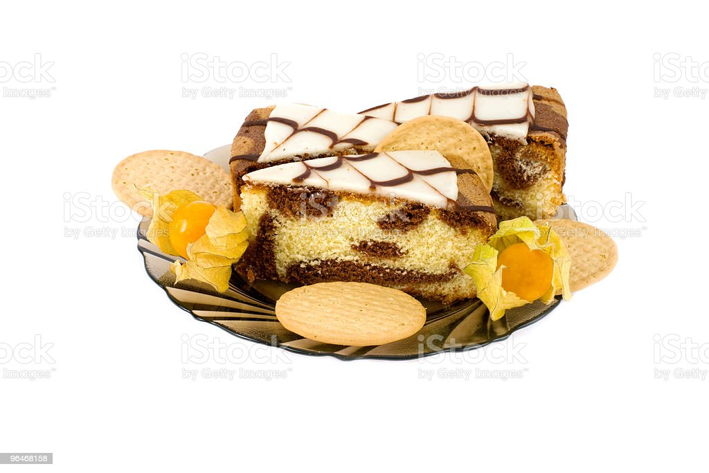 Composition with biscuits, fruit and cake royalty-free stock photo