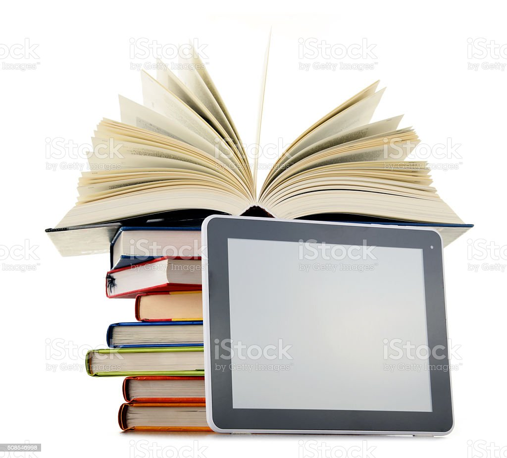 Composition with books and tablet computer isolated on white stock photo