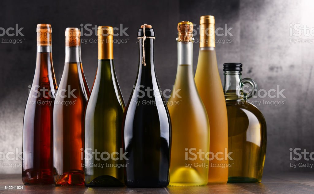 Composition with bottles different sorts of wine stock photo