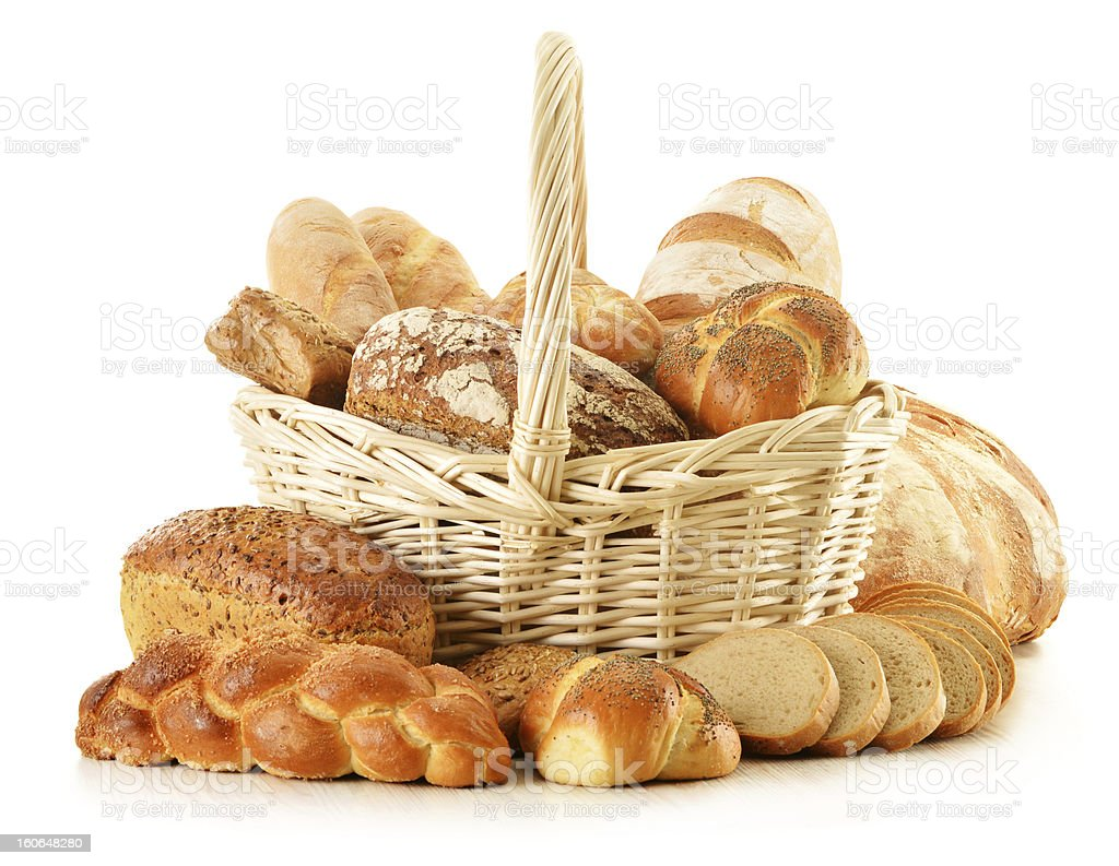 Composition with bread and rolls isolated on white royalty-free stock photo