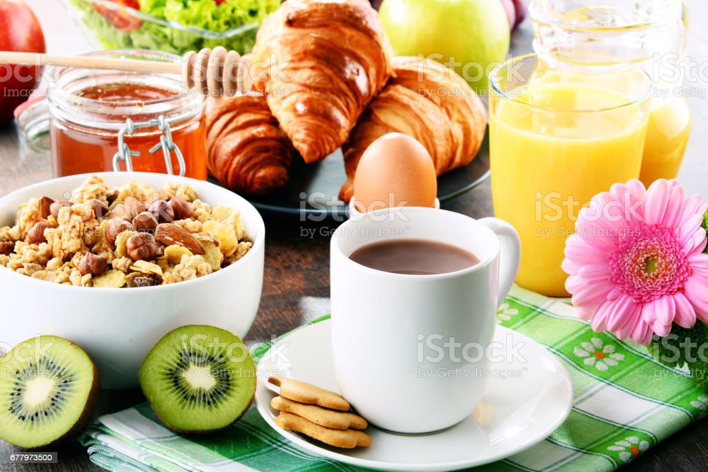 Composition with breakfast on the table. Balnced diet. stock photo