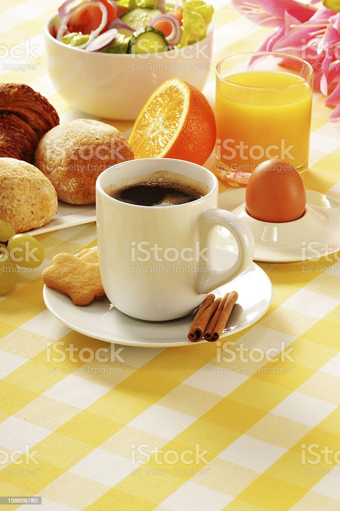 Composition with breakfast on the table royalty-free stock photo