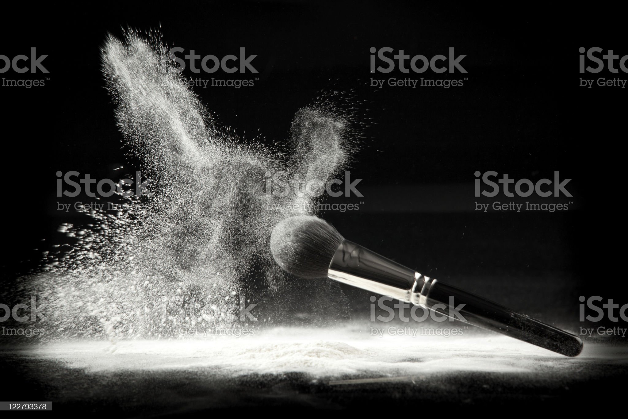 composition with brush and white loose powder royalty-free stock photo