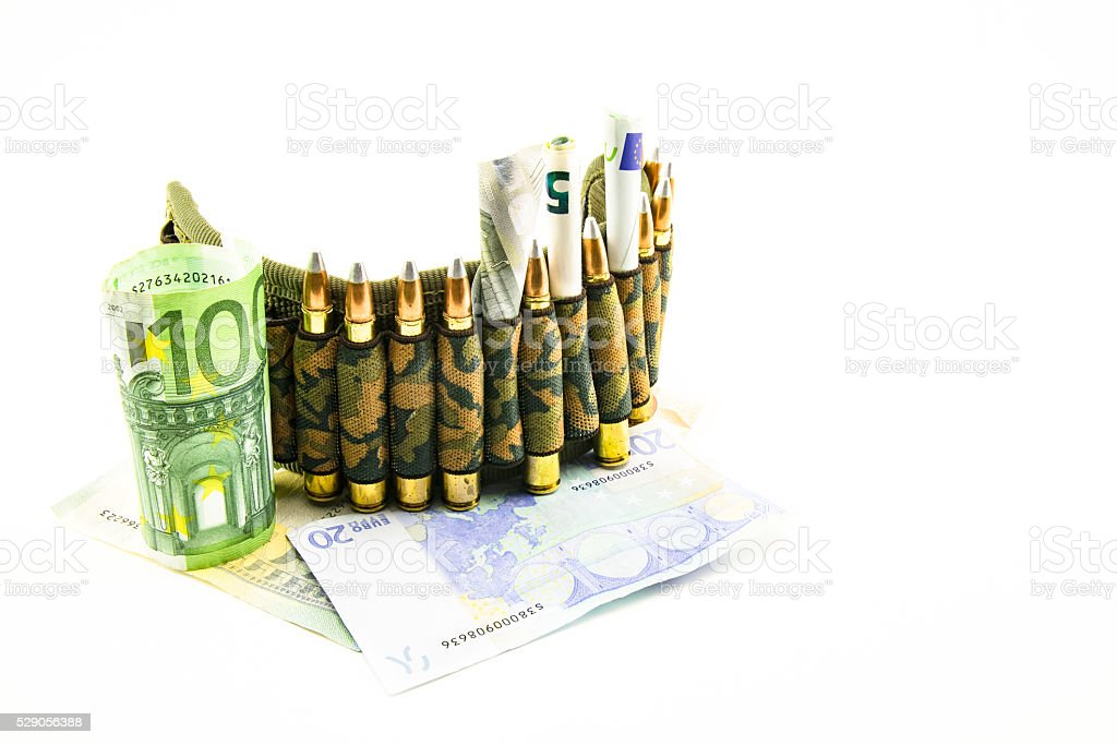 composition with bullets and euros stock photo
