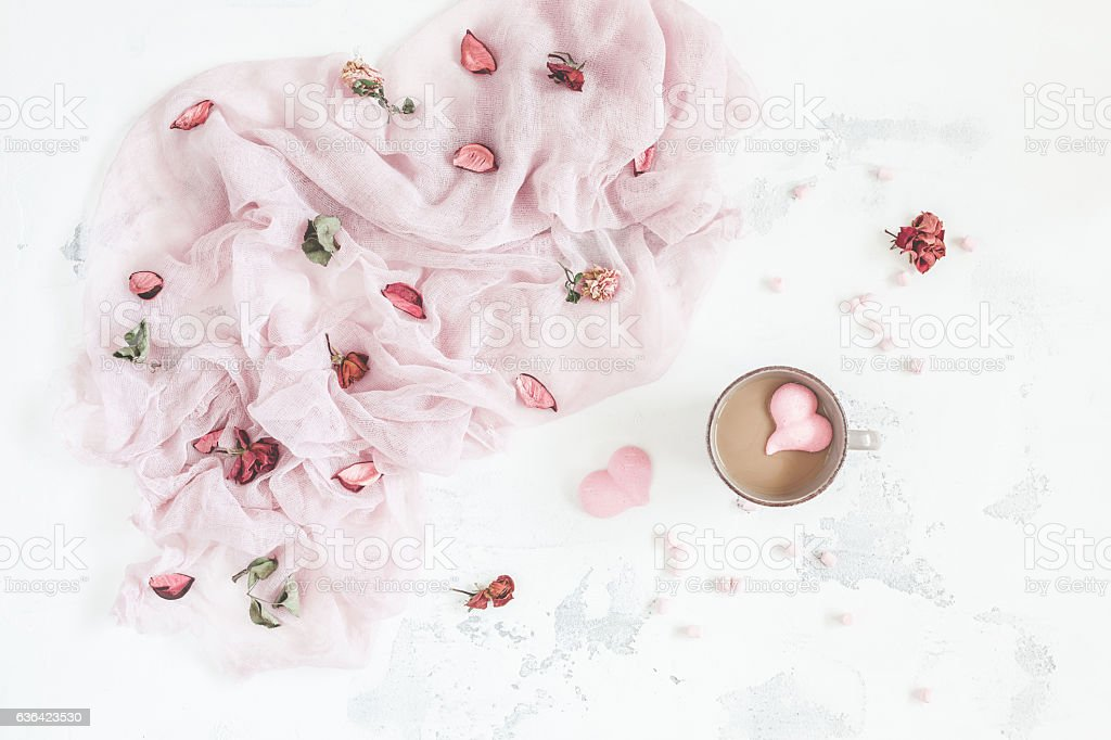 Composition with coffee and dry flowers. Valentine's Day. Flat lay stock photo