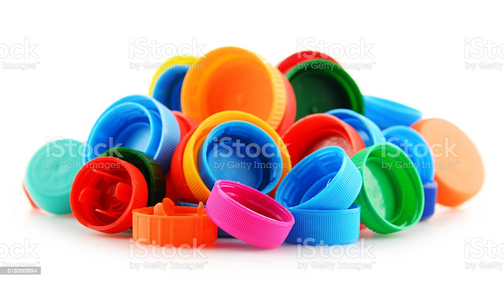Composition with colorful plastic bottle caps stock photo