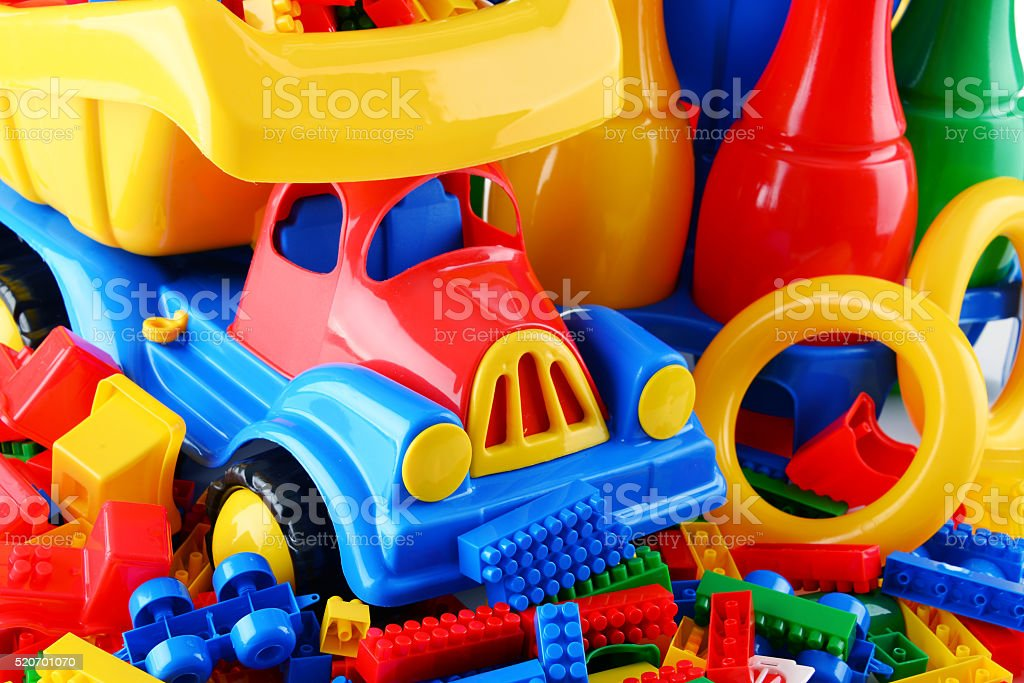 Composition with colorful plastic children toys stock photo