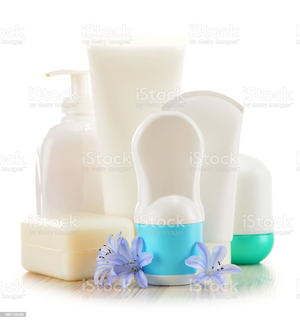 Composition with containers of body care and beauty products stock photo