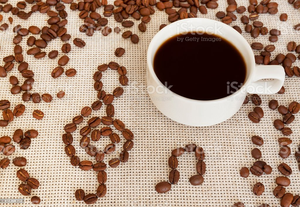 Composition with cup and coffee beans notes stock photo
