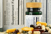 Composition with dietary supplements capsules and containers