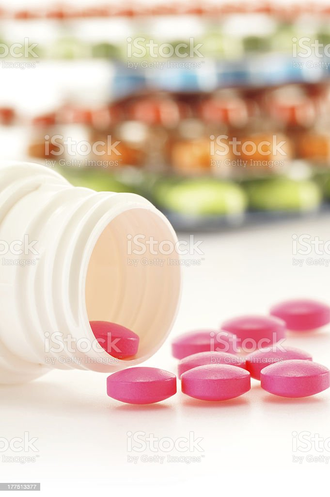 Composition with drug pills royalty-free stock photo