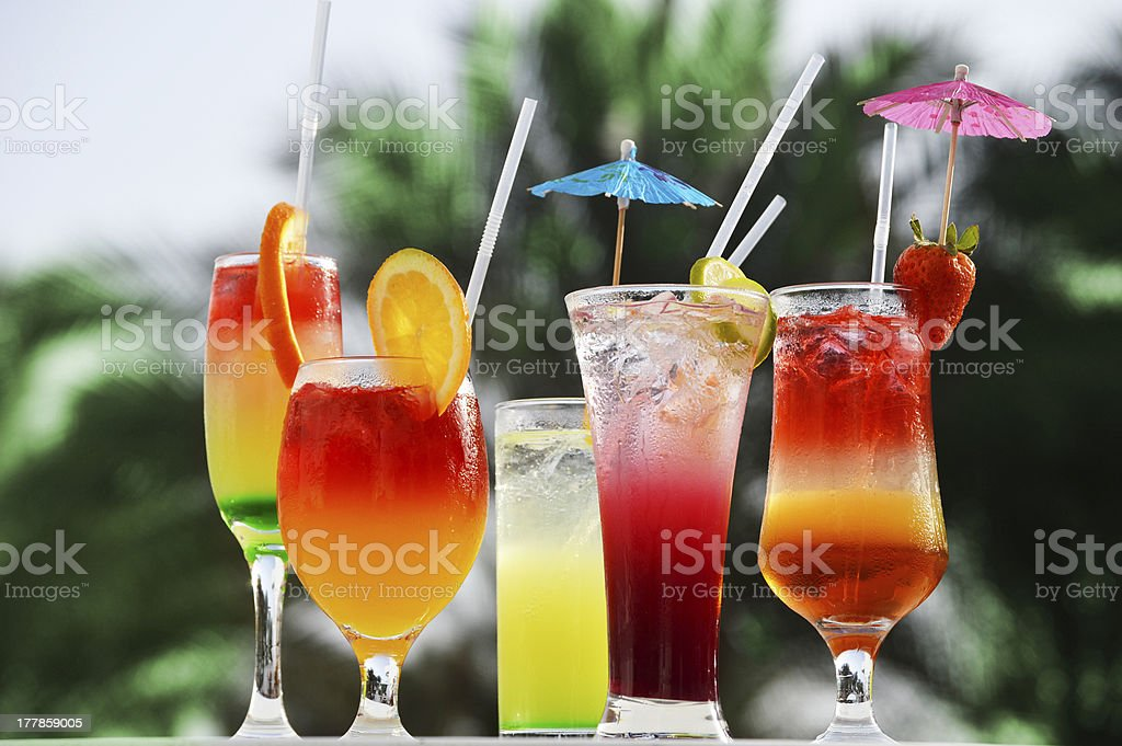 Composition with five glasses of soft drinks royalty-free stock photo