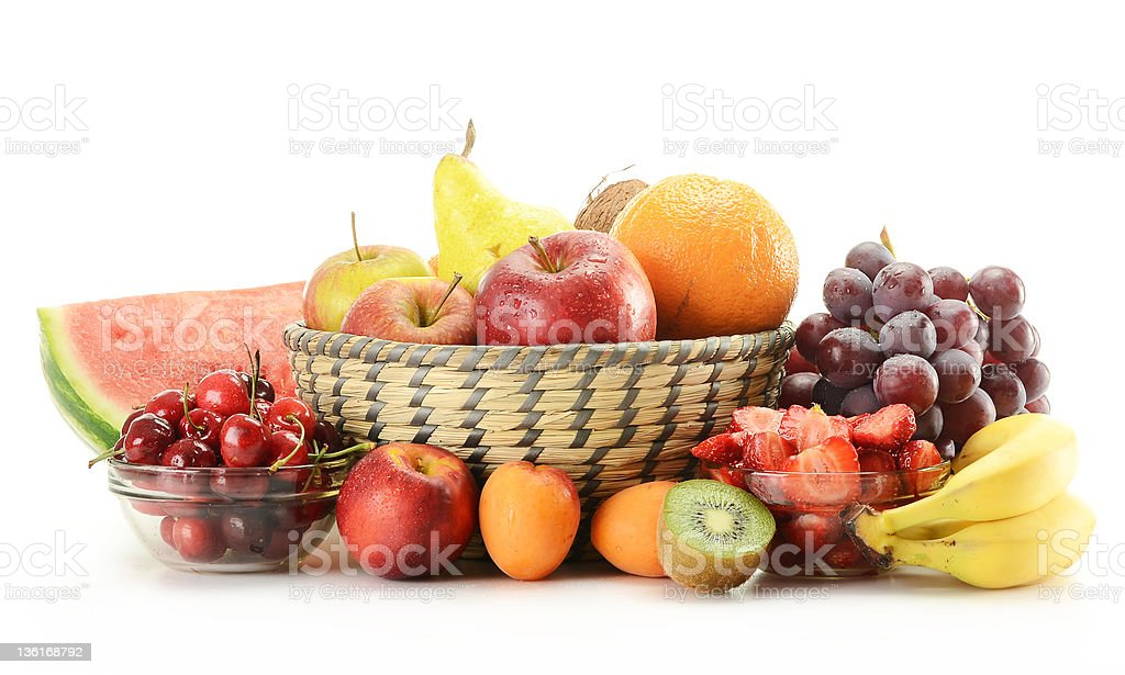 Composition with fruits isolated on white royalty-free stock photo
