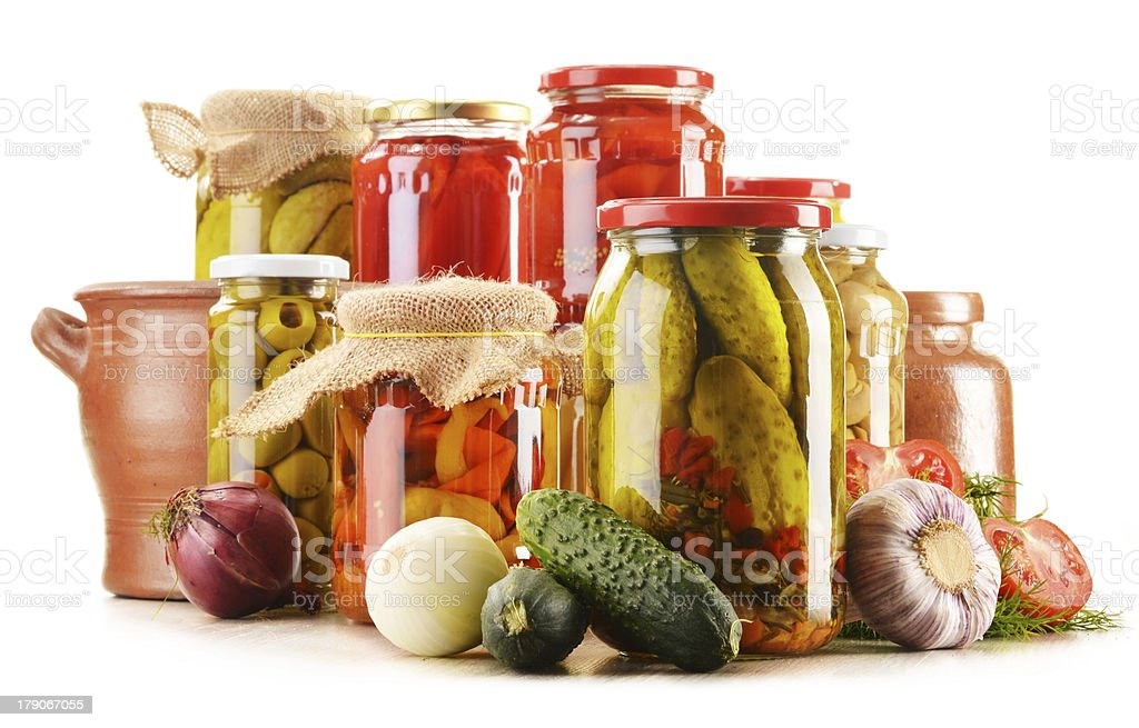 Composition with jars of pickled vegetables. Marinated food royalty-free stock photo