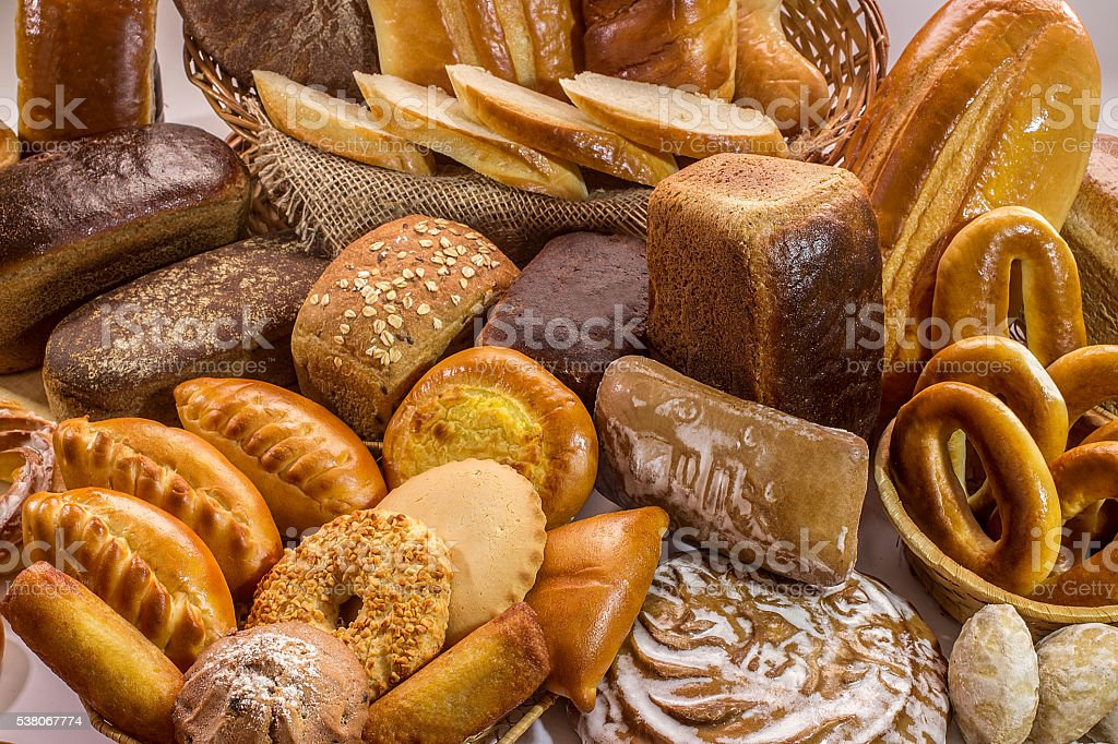 Composition with loafs of bread and rolls stock photo
