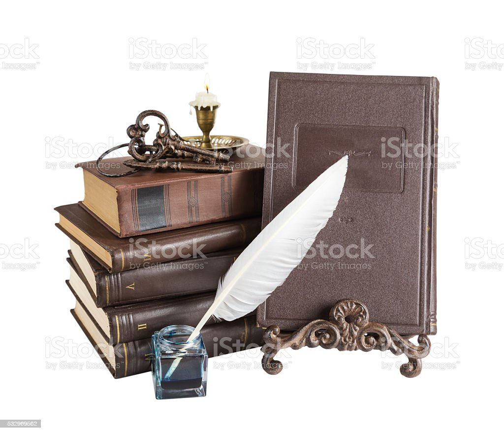 Composition with old books stock photo