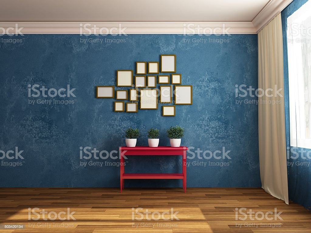 Composition with plants pictures and table. Indoors. Red, Green, Blue. stock photo