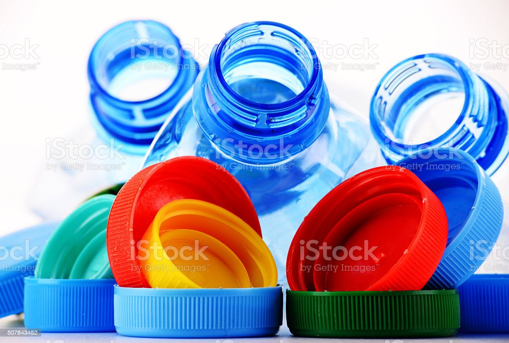 Composition with plastic bottles and caps stock photo