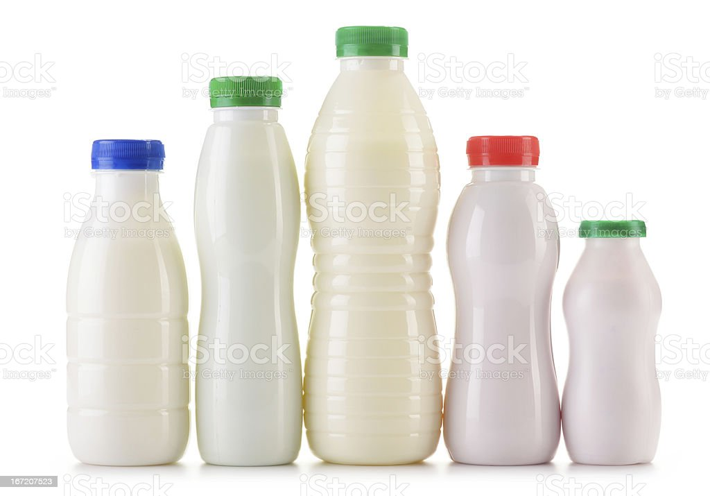 Composition with plastic bottles of milk products royalty-free stock photo