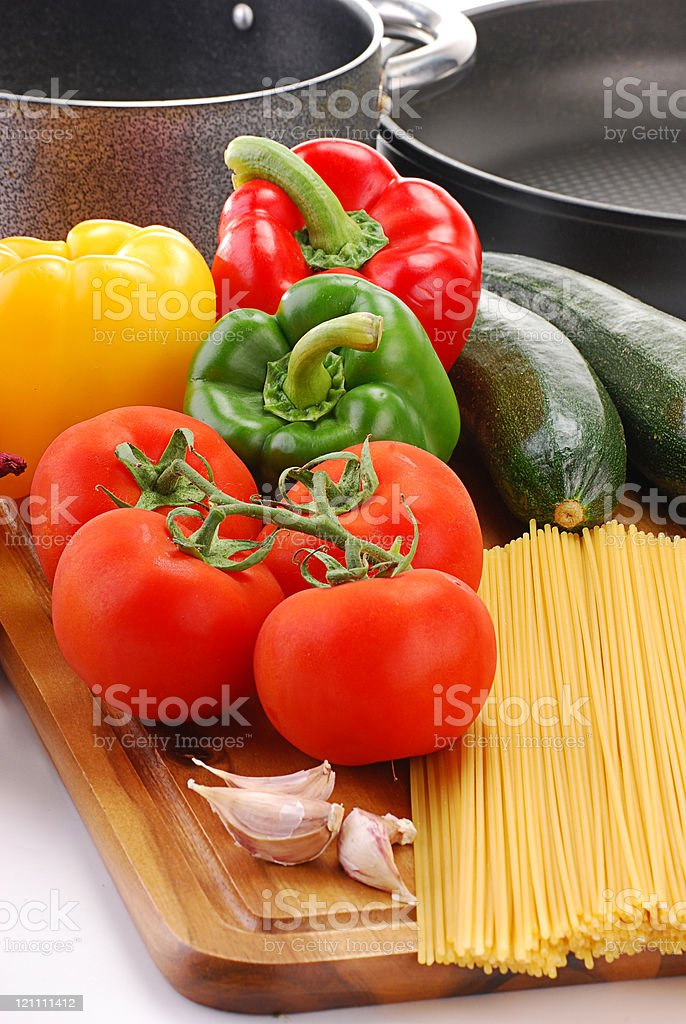 Composition with raw vegetables and spaghetti royalty-free stock photo