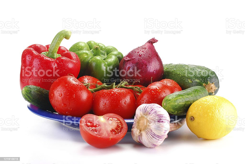 Composition with raw vegetables isolated on white stock photo