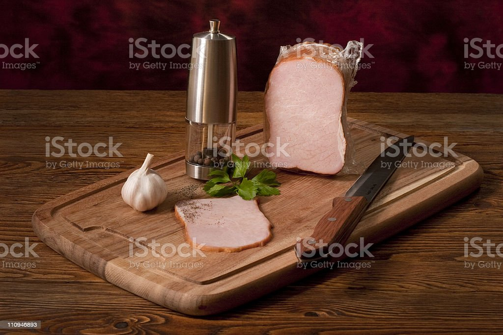 Composition with smoked ham royalty-free stock photo