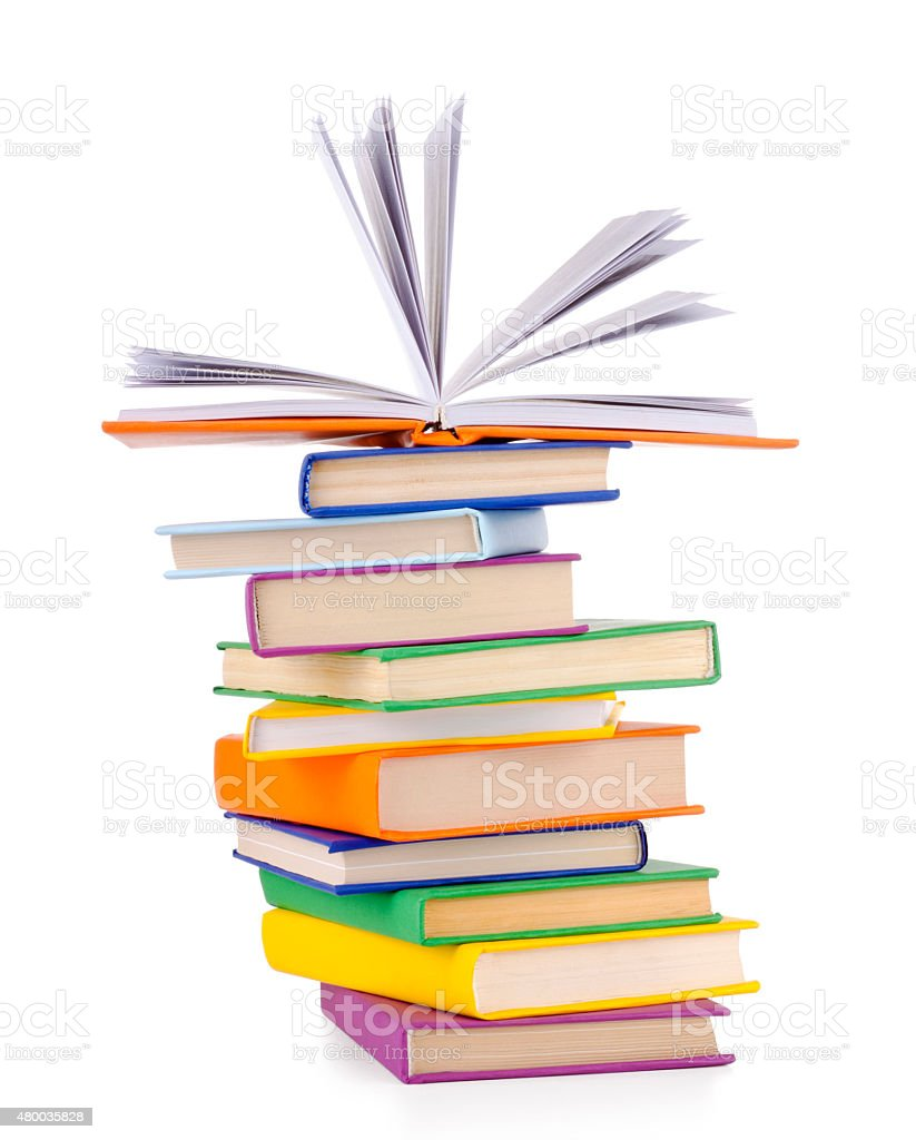 Composition with stack of books stock photo