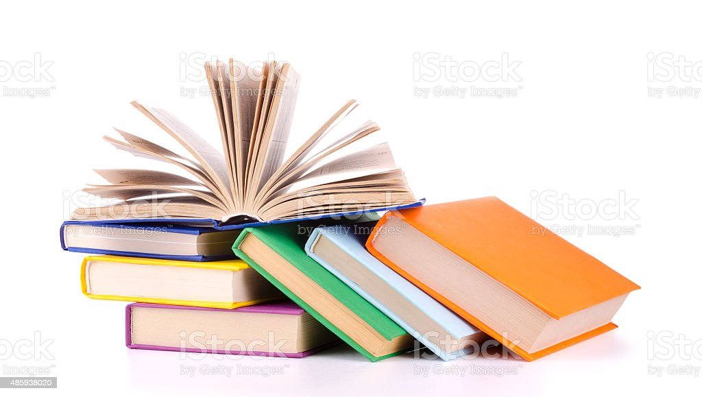 Composition with stack of books. stock photo
