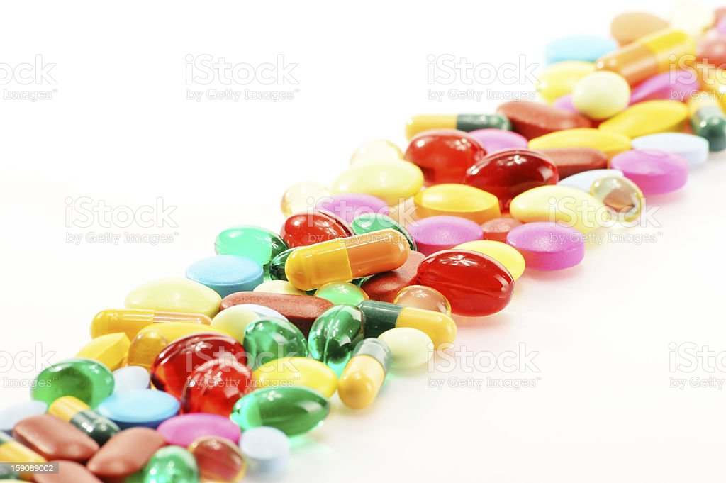 Composition with variety of drug pills royalty-free stock photo