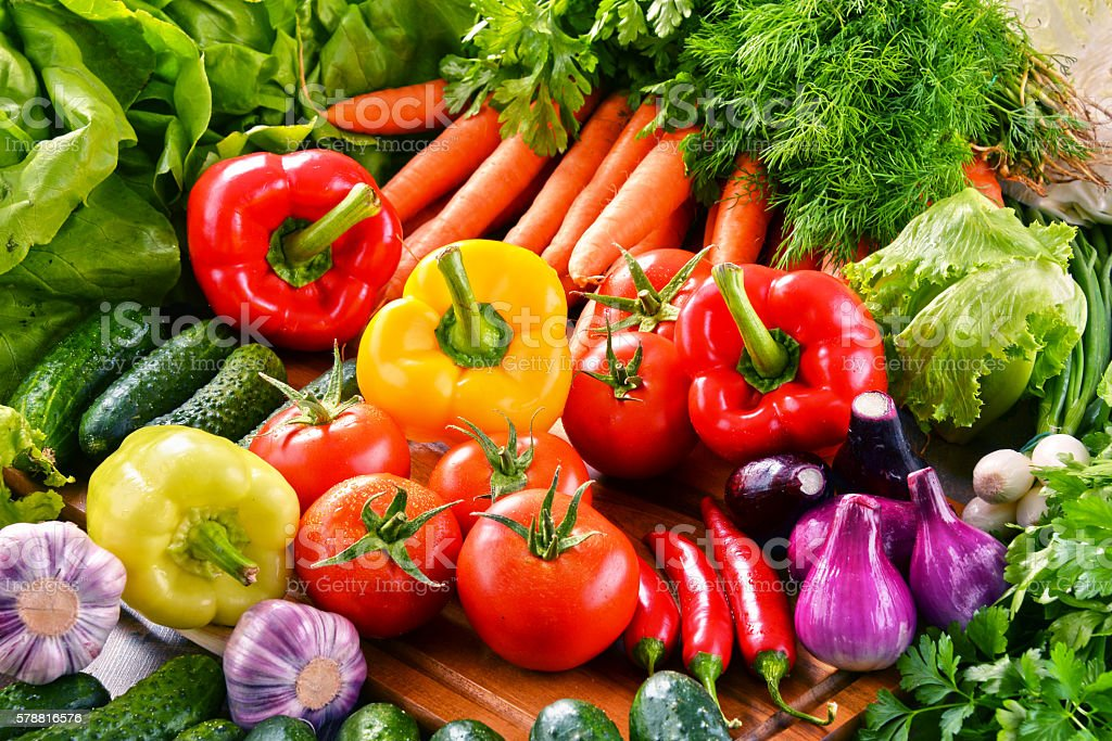 Composition with variety of fresh organic vegetables stock photo