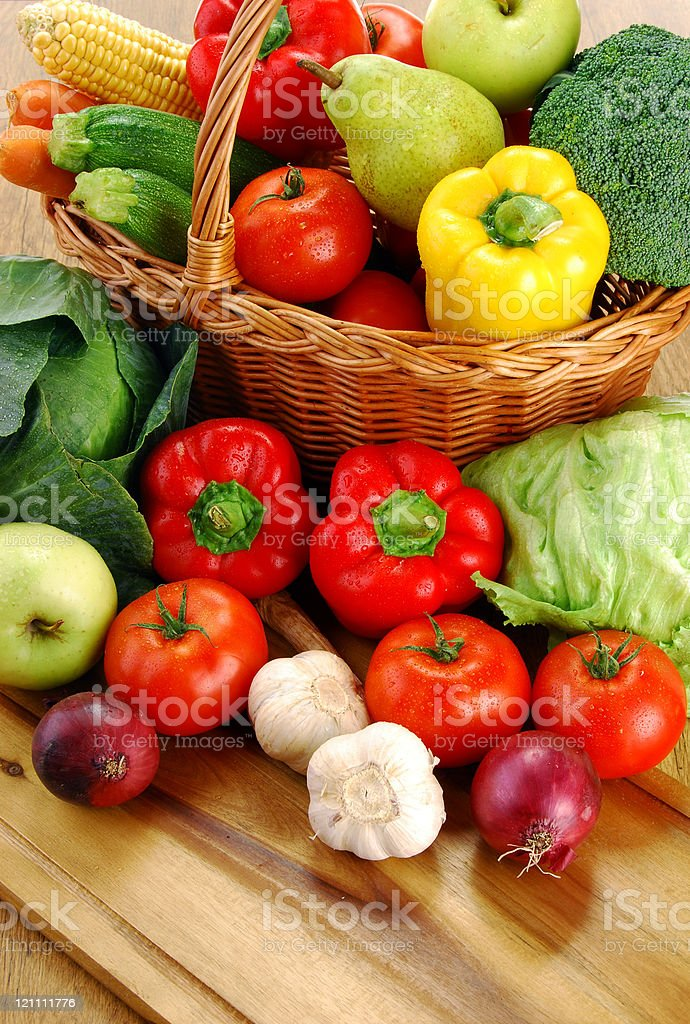 Composition with variety of fresh raw vegetables royalty-free stock photo